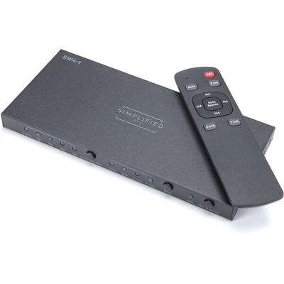 Simplified MFG SW4:1 Four Input HDMI Switch with Audio Breakout/EDID/RS232