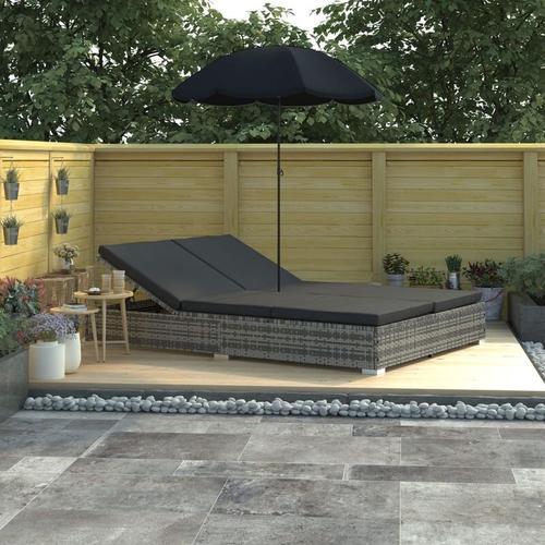 Outdoor-Loungebett mit Sonnenschirm Poly Rattan Grau - Youthup