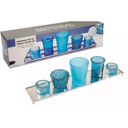 Heim INTERIOR & SEASONAL DESIGN Kerzentablett blau Kerzenhalter Kerzen Laternen Wohnaccessoires