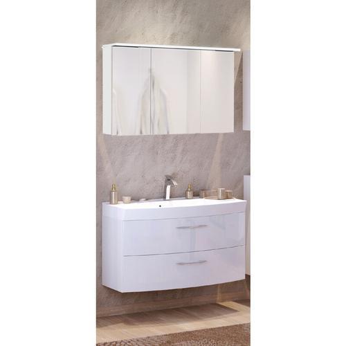 Waschtisch & Spiegelschrank Set FLORIDO-03 Hochglanz weiß, Waschtisch mit Auzügen oder 2 Türen, B x