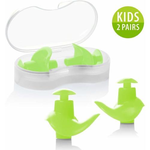 Ohrstöpsel Schwimmen Kinder, 2 Paar wasserdichte Wiederverwendbare Silikon Ohrstöpsel für Schwimmer