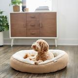 Frisco Heathered Woven Oval Bolster Cat & Dog Bed, Tan, Medium