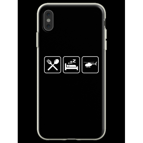 Helicopter - Eat, Sleep, Fly Helicopter Flexible Hülle für iPhone XS Max