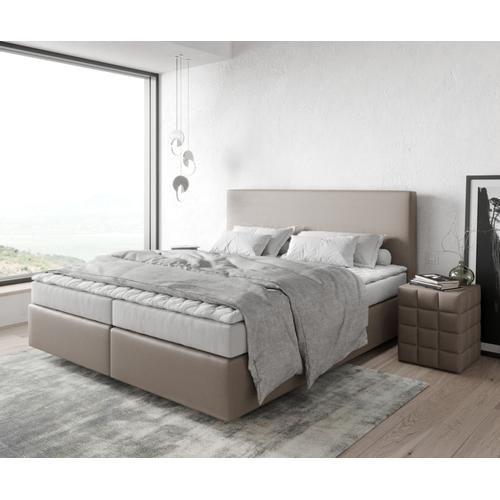 DELIFE Boxspringbett Dream-Well 180x200 cm Kunstleder Taupe, Boxspringbetten