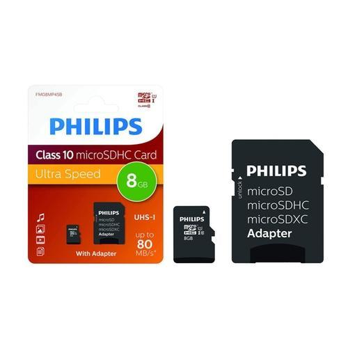 Philips Micro SDHC Class 10 Speicherkarte 8 GB inkl. Adapter