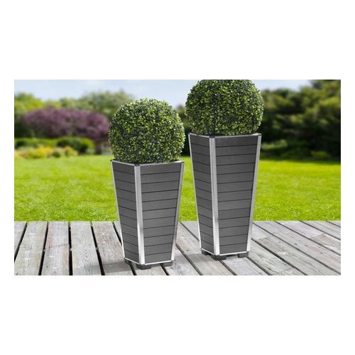 Gartenfreude Pflanzgefäß aus WPC Modell: 27 x 27 x 53 cm / Grau