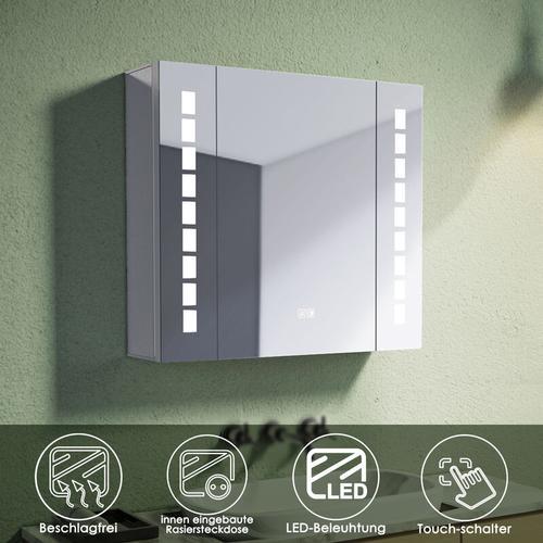 Alu Spiegelschrank mit beleuchtung und steckdose Beschlagfrei Badspiegel LED Touch 65x60x13.3cm