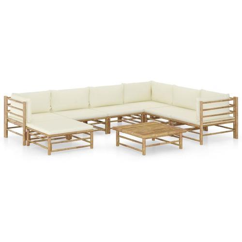 8-tlg. Garten-Lounge-Set mit Cremeweißen Kissen Bambus