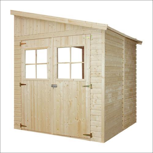 Holz Gartenschuppen (ohne Seitenwand) - Abstellkammer mit Fenstern - H244x211x220 cm/4 m2