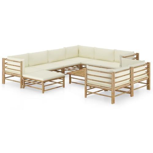 10-tlg. Garten-Lounge-Set mit Cremeweißen Kissen Bambus