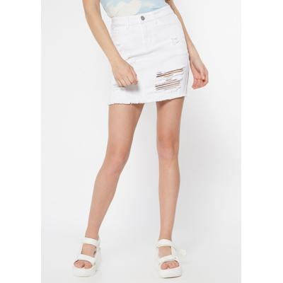 Rue21 Womens White Ripped Jean Skirt - Size S