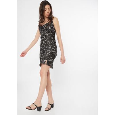 Rue21 Womens Black Ditsy Daisy Cowl Neck Satin Slip Dress - Size Xs