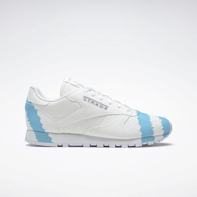 Reebok Women's Collina Strada Classic Leather Shoes in Ftwr White/Digital Blue/Acid Yellow Size 10 - Lifestyle Shoes