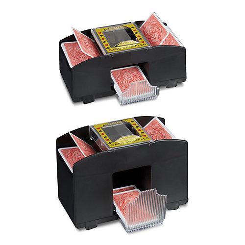 2x Kartenmischmaschine Kartenmischer Set elektrisch 2 Decks 4 Decks mit Batterie