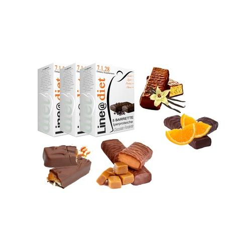 Protein-Riegel: 20er-Pack / 5x Toffee 5x Schokolade-Orange 5x Schokolade und 5x Vanille