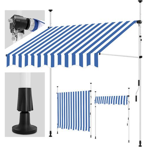 Balkonmarkise 150 cm Blau/Weiß Gelenkarm Markise Klemmmarkise Sonnenmarkise Balkon ohne Bohren
