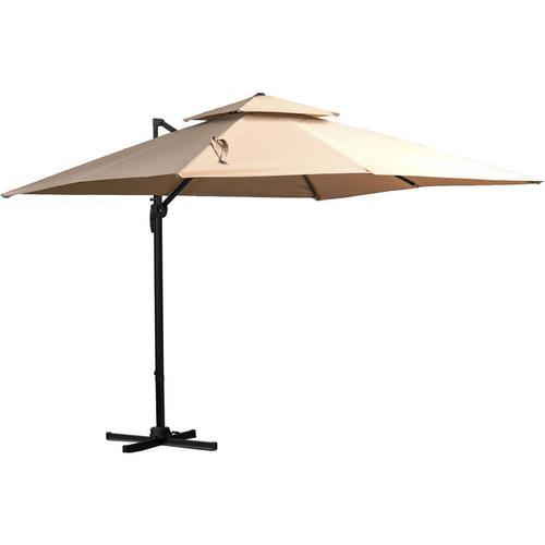 Outsunny® Sonnenschirm 3x3m Gartenschirm Alu Terrassenschirm 360 grad schwenkbar Khaki - khaki