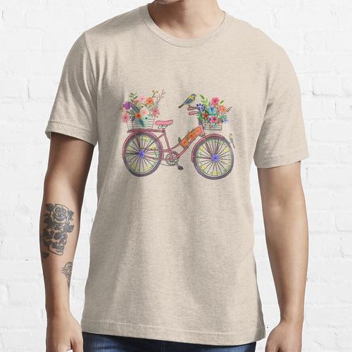 Ein Vogel auf einer Fahrrad-Postkarte von Paris Essential T-Shirt