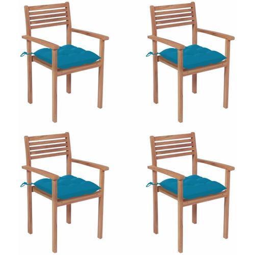 Gartenstühle 4 Stk. mit Hellblauen Kissen Massivholz Teak