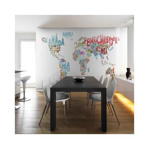 Fototapete Landkarte - Welt (polnisch) weiß