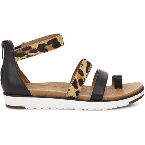 Ugg Mina Leopard Sandalen für aus Leder in Schwarz Leopard Größe 36
