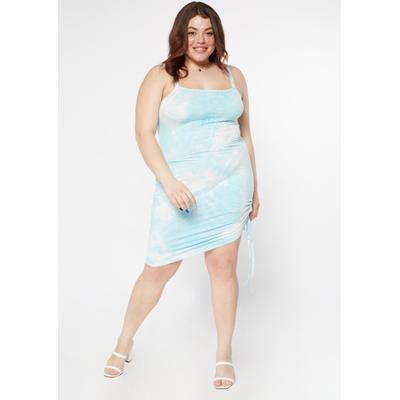 Rue21 Womens Plus Size Blue Tie Dye Ruched Side Mini Dress - Size 3X