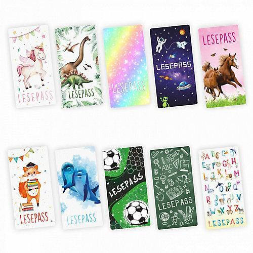 Lesepass 10 Motive sortiert Lesezeichen zum lesen üben Grundschule 10-100 Stück Lesezeichen bunt