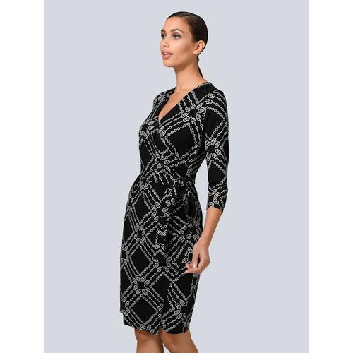 Alba Moda, Kleid mit Fake-Wickelausschnitt, schwarz