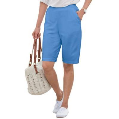 Women's Plus Everyday Knit Pull-On Shorts, Light Wedgewood Blue 3X