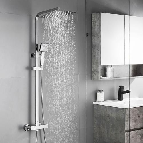 Duschsystem mit Thermostat Duscharmatur Regendusche Duschset Duschsäule für Badezimmer - Auralum