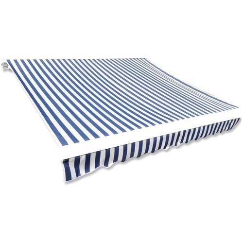 Markisenbespannung Canvas Blau & Weiß 4 x 3 m (ohne Rahmen) - Youthup