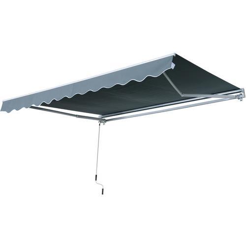 Outsunny® Markise Gelenkarmmarkise Sonnenschutz Grau 3,95x2,5m - grau