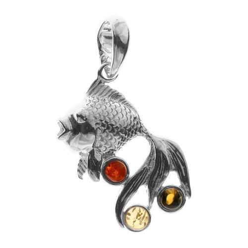 Anhänger - Fisch - Silber 925/000 - Bernstein OSTSEE-SCHMUCK silber