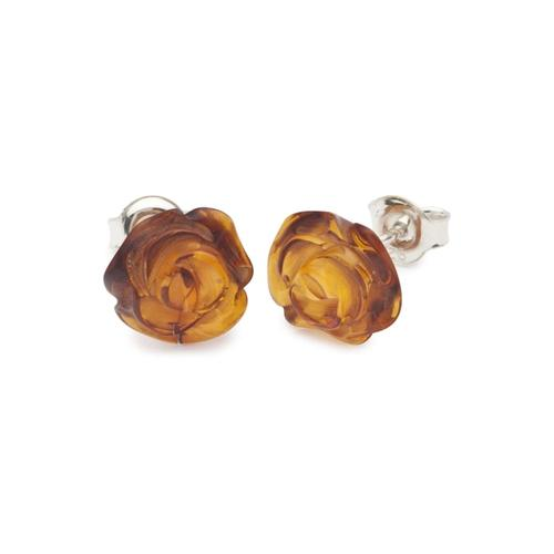 Ohrstecker - Rose - Silber 925/000 - Bernstein OSTSEE-SCHMUCK silber