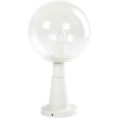Sockelleuchte A-92575, weiß, Aluguss, Kristallglas, E27, IP44, 460x250mm