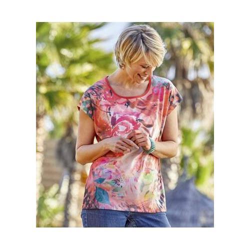 T-Shirt Koralle mit exotischem Druckmotiv