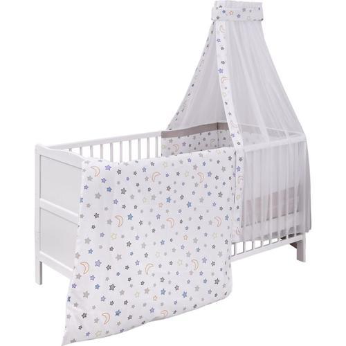Kinderbett komplett, Mond & Sterne, 70 x 140 cm weiß