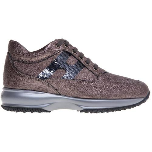 Hogan Interactive sneaker in hammered and laminated leather with sequined h