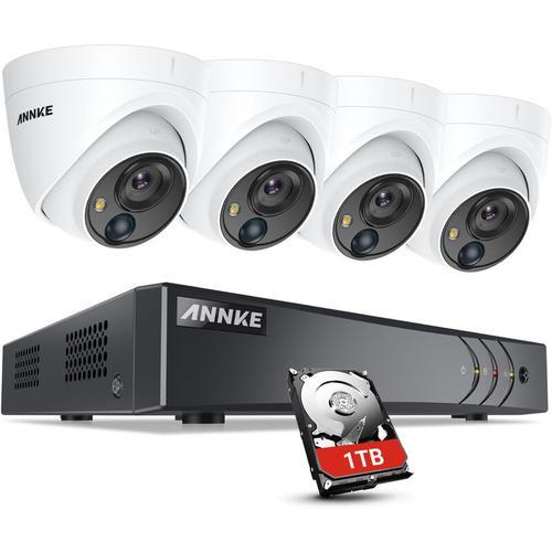ANNKE 5MP HD 5-in-1 8CH DVR-Überwachungskamerasystem mit 4 * 5MP PIR-Außenkameras - 1 TB Festplatte