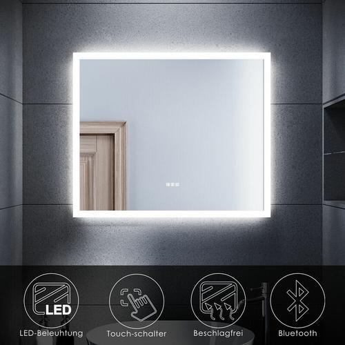SONNI Badspiegel mit LED Beleuchtung Touch Beschlagfrei Bluetooth Bad Badezimmerspiegel 60x50cm