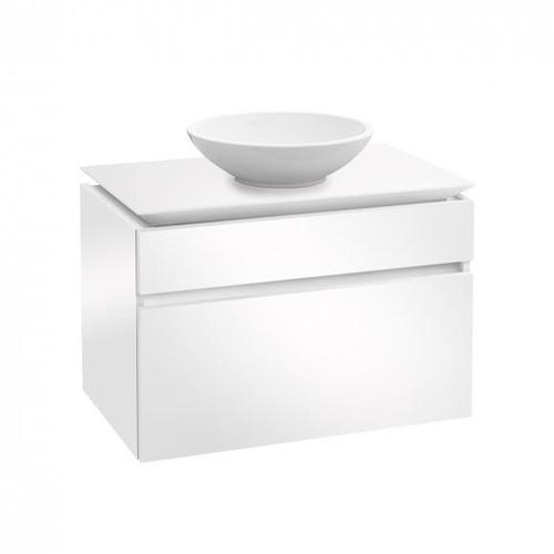 Villeroy & Boch Legato Waschtischunterschrank für Aufsatzwaschtisch B: 80 H: 55 T: 50 cm, 2 Auszüge Front glossy white / Korpus glossy white B57000DH