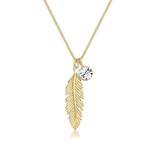 Halskette Feder Boho Kristall 925 Sterling Silber Elli Gold