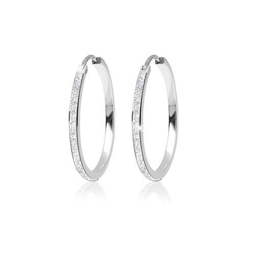 Ohrringe Creolen Klassisch Emaille 925 Sterling Silber Elli Silber