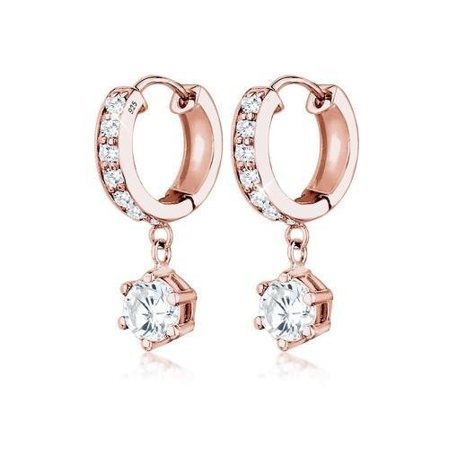 Ohrringe Creolen Zirkonia Elegant Funkelnd 925 Silber Elli Rosa