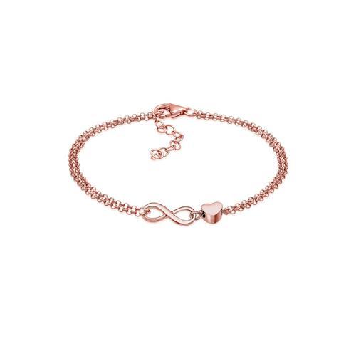 Armband Herz Liebe Unendlichkeit Infinity 925 Silber Elli Rosegold