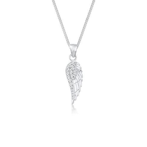 Halskette Flügel Kristalle Elegant 925 Silber Elli Silber