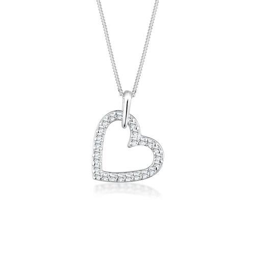 Halskette Herz Funkelnd Kristalle 925 Silber Elli Weiß