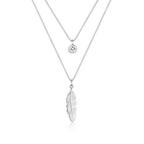 Halskette Feder Boho Kristalle 925 Silber Elli Silber