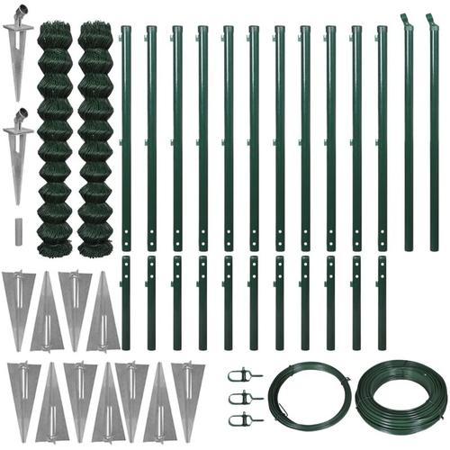 Maschendrahtzaun-Set mit Erdnägeln 1,97 x 25 m Grün - Youthup