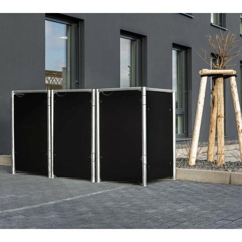 Mülltonnenbox 140l Kunststoff; 3er Box schwarz 3er Box - Hide